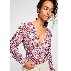Free People Wild And Free Printed Blouse